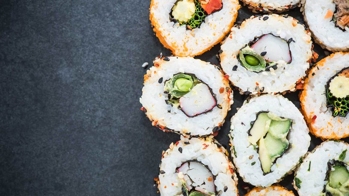 California sushi style rolls with raw vegetables