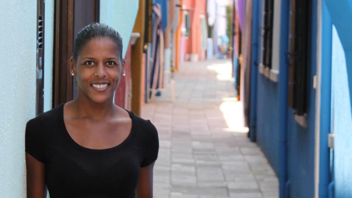 Caroline Lavallée standing on a colorful path