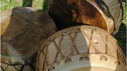 Close up of Indigenous drums