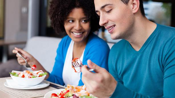 Couple having lunch at restaurant