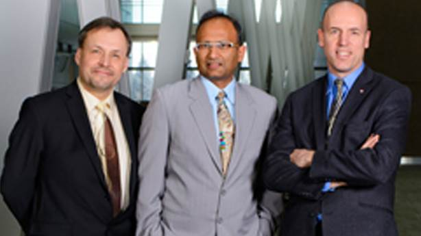<p>From left, Dr. Andrew Demchuk, Dr. Mayank Goyal and Dr. Michael Hill.</p> <p> </p>