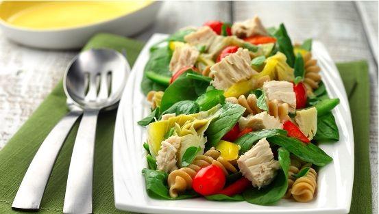 Spinach, cherry tomatoes, artichokes, rotini pasta, tuna