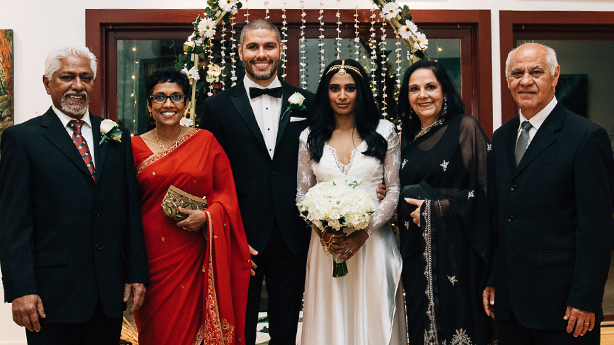 <p>A family united: Lakna's parents Nalaka and Kumari, Regis, Lakna, Regis's parents Edina and Pedro.&nbsp;</p>