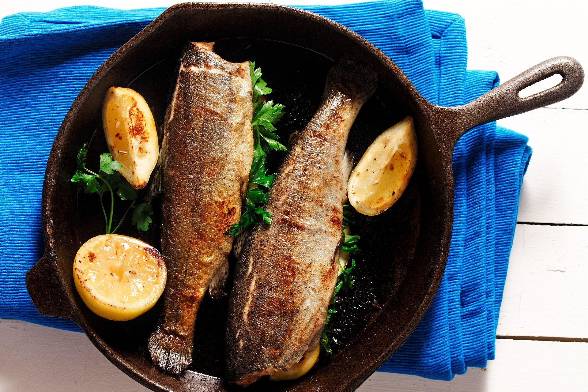 Two pieces of trout in cast iron skillet with sliced lemon and fresh parsley.