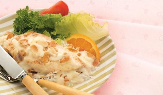 Baked almond chicken with vegetables