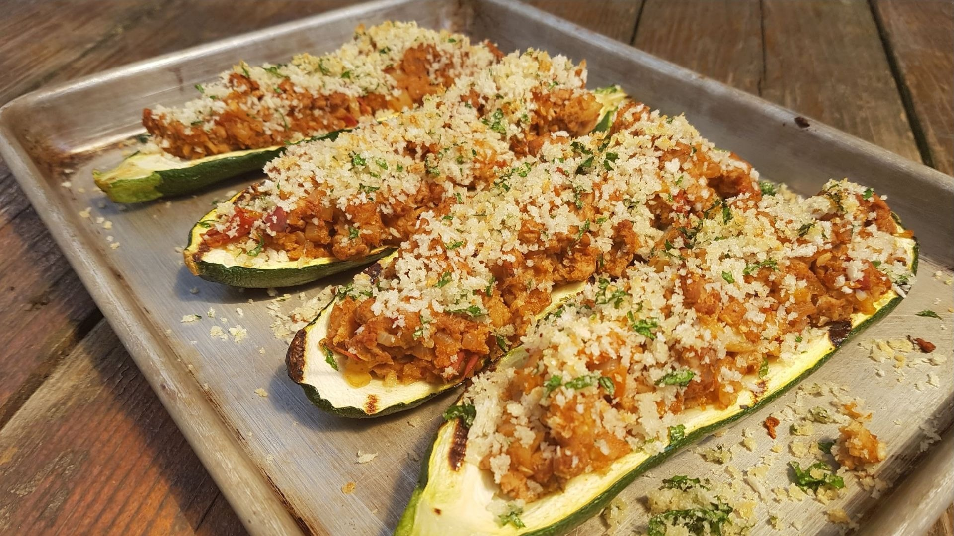 Zucchini stuffed with ground turkey and panko crumbs