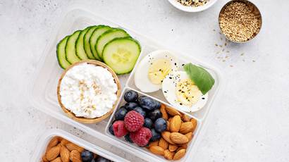 Snack box with high fruit, cottage cheese, nuts and eggs