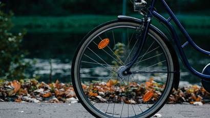Closeup of bicycle in park