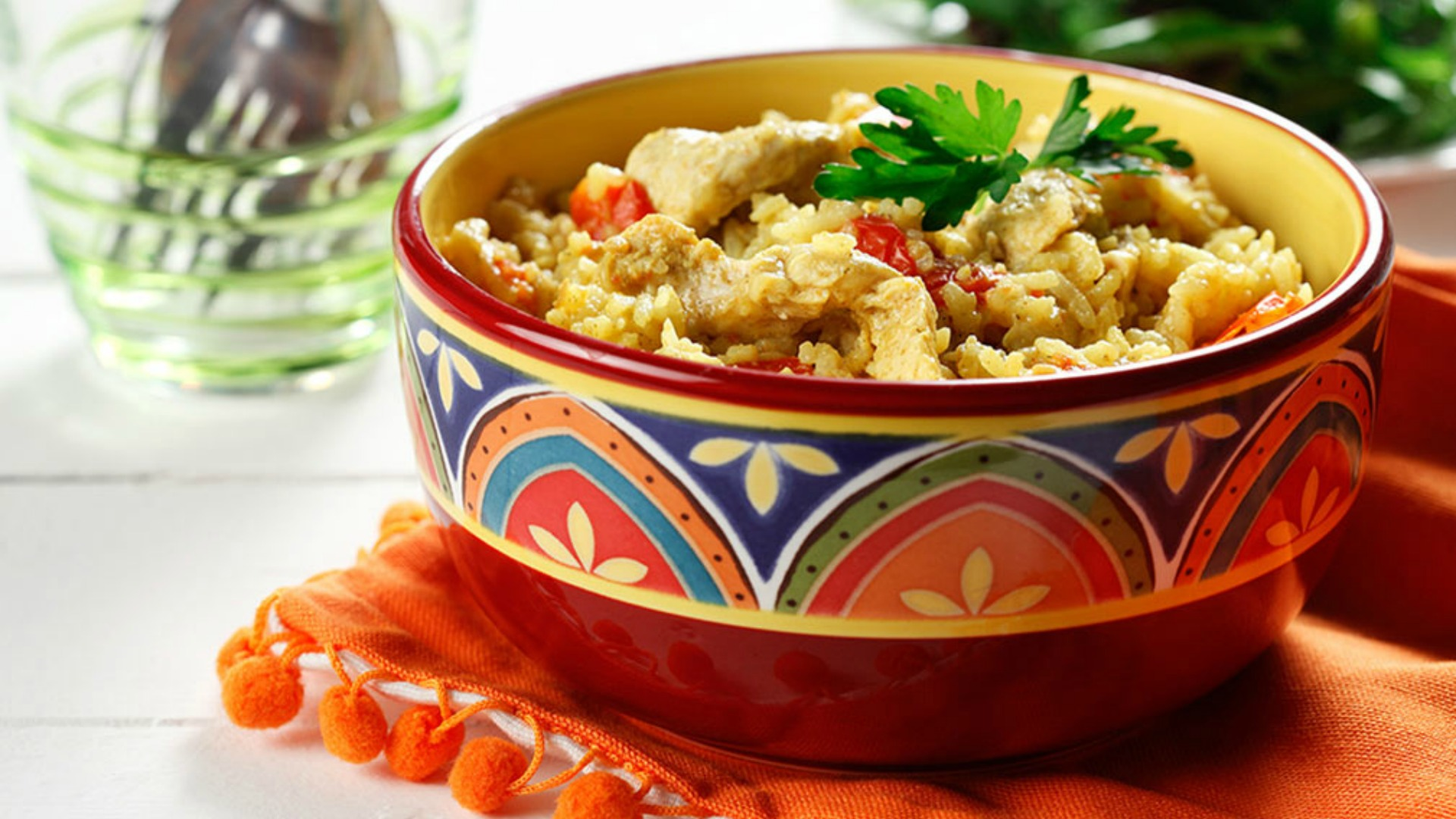 Easy chicken biryani in a colourful dish