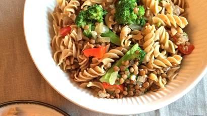 Broccoli lentil pasta