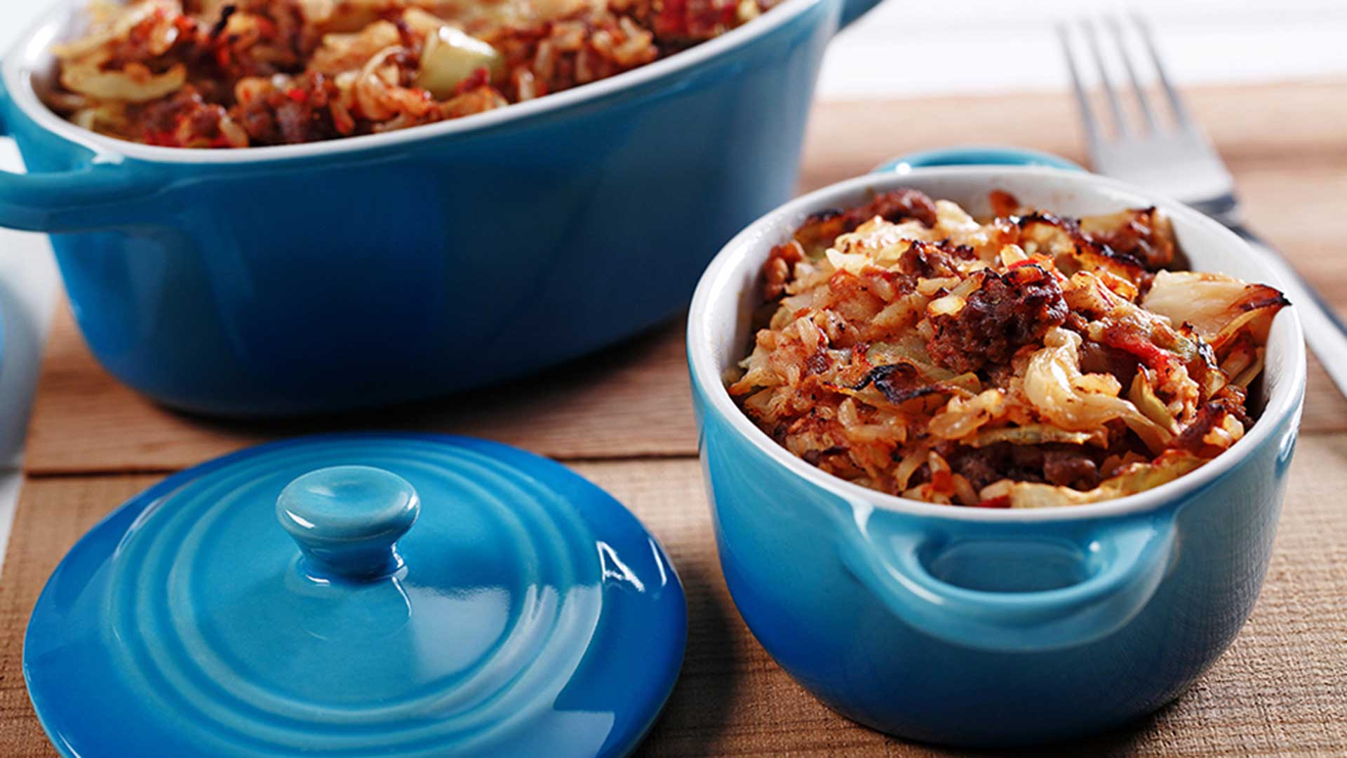 Cabbage casserole in blue ceramic pot