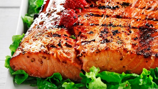 Grilled salmon with Dijon raspberry vinaigrette