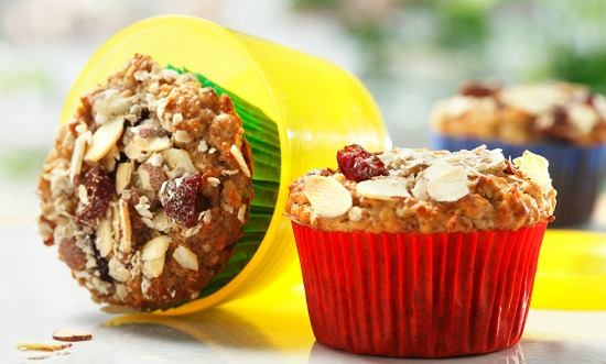 muesli muffins with almonds and cranberries