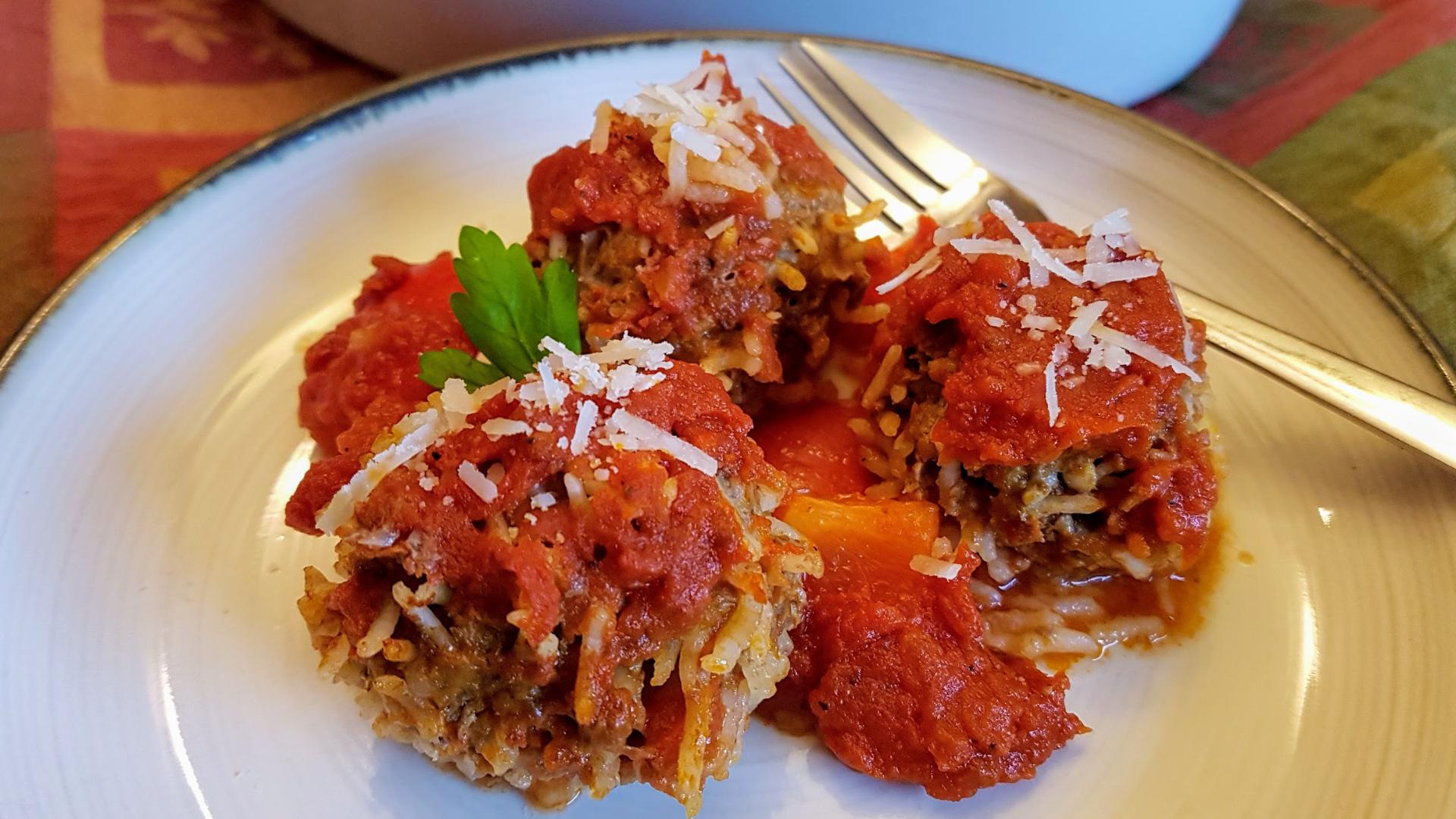 Porcupine meatballs on a plate