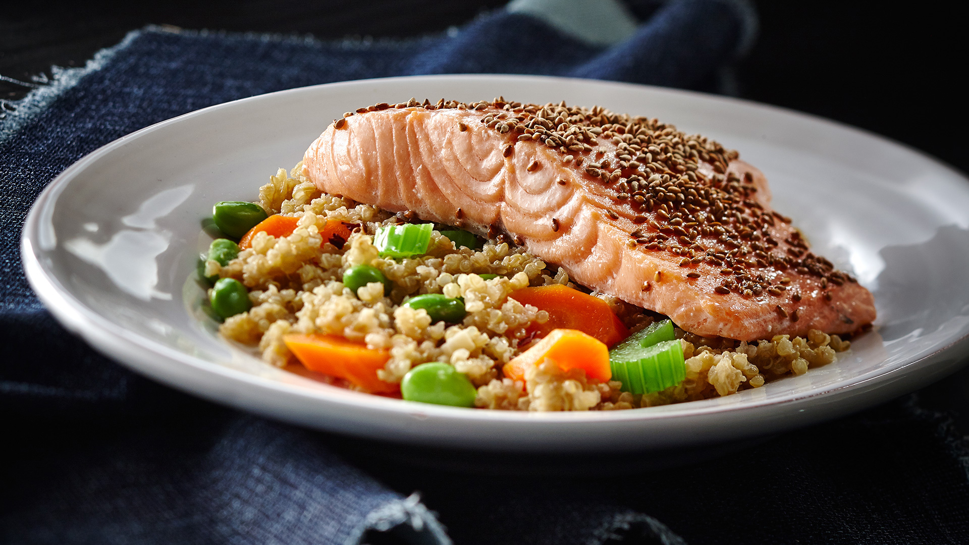 Sesame ginger veggie quinoa with salmon
