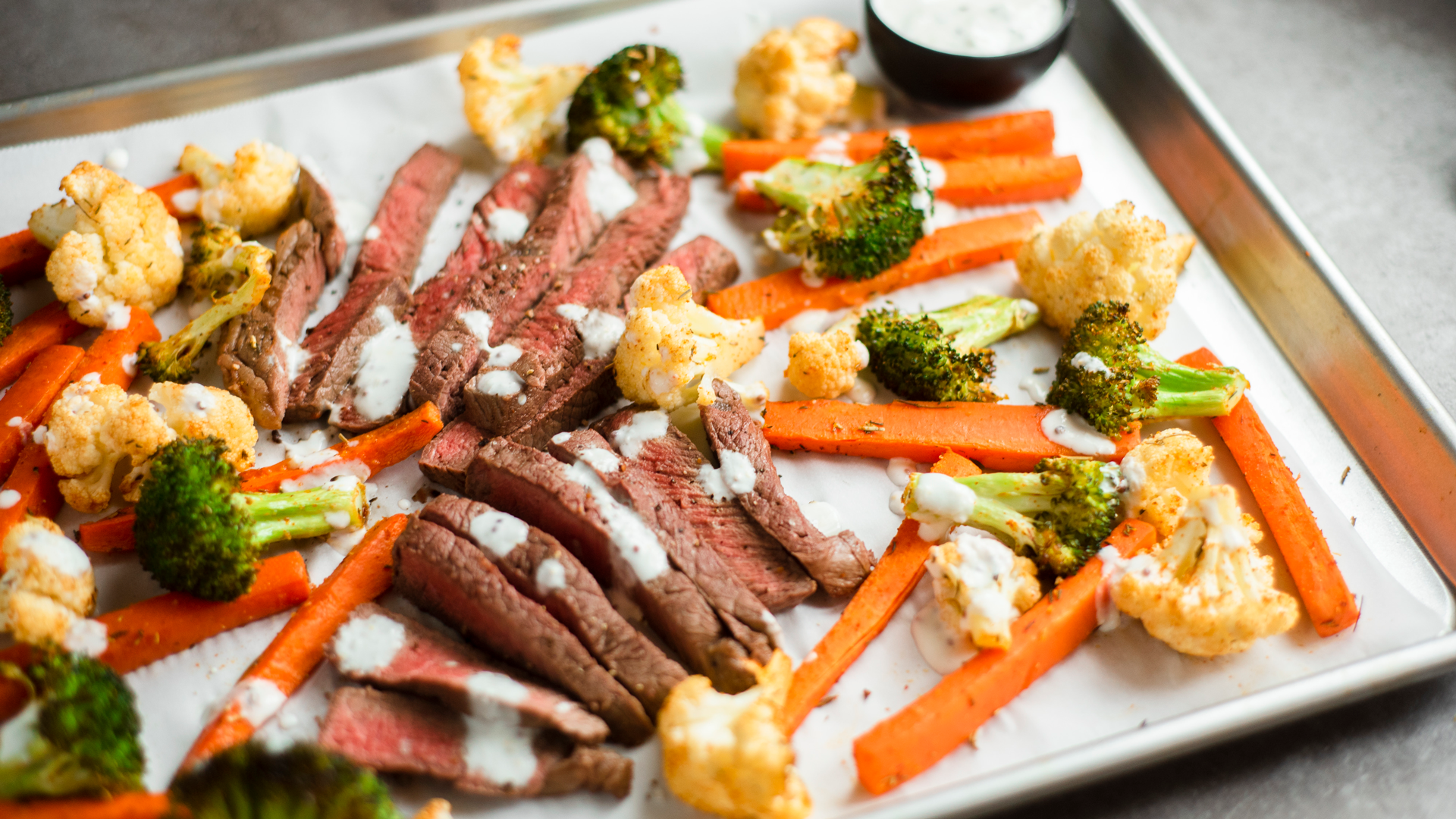 Steak and roasted vegetable sheet-pan dinner