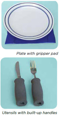 Plate with gripper pad, Utensils with built-up handles