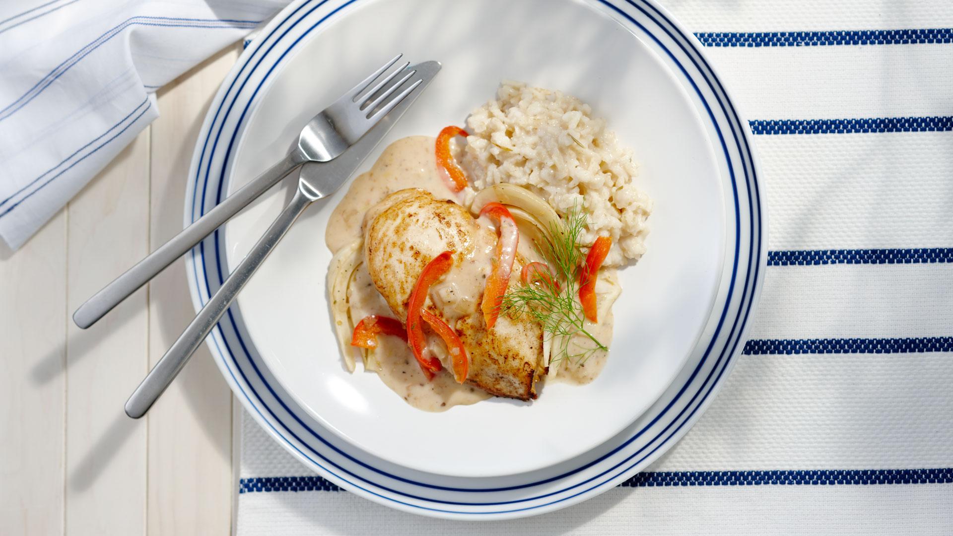 Mediterranean Chicken-and Brown Rice on plate
