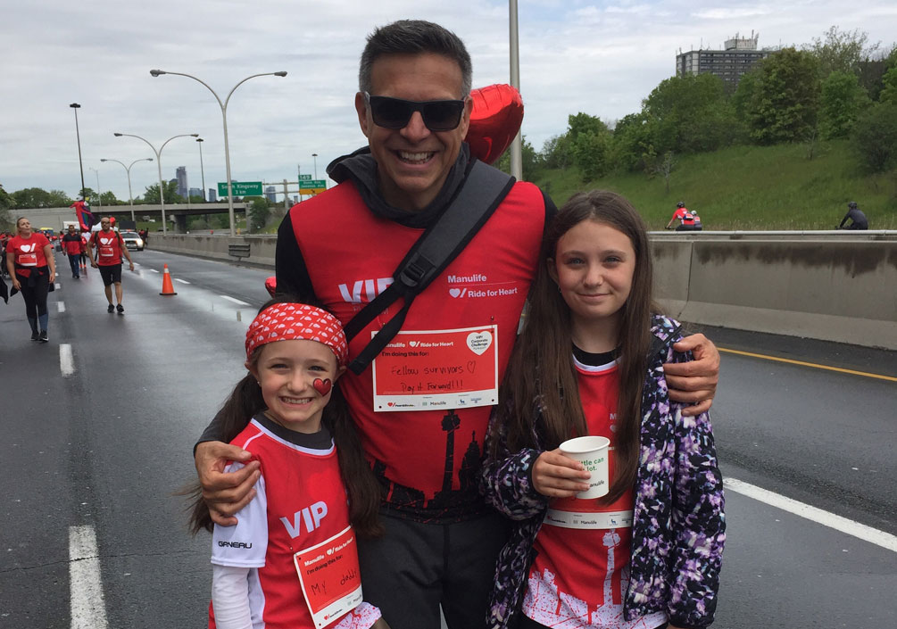 Paul with his daughters at Ride for Heart
