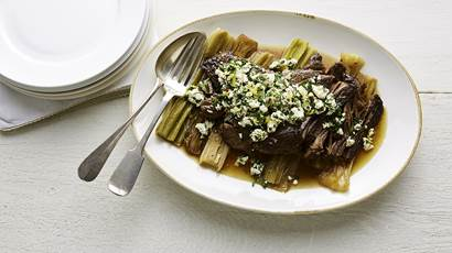Braised beef with feta gremolata
