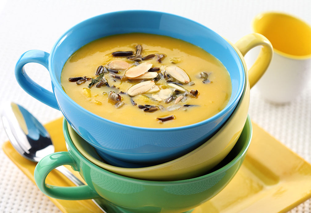 Butternut squash and apple soup with wild rice and sliced almonds