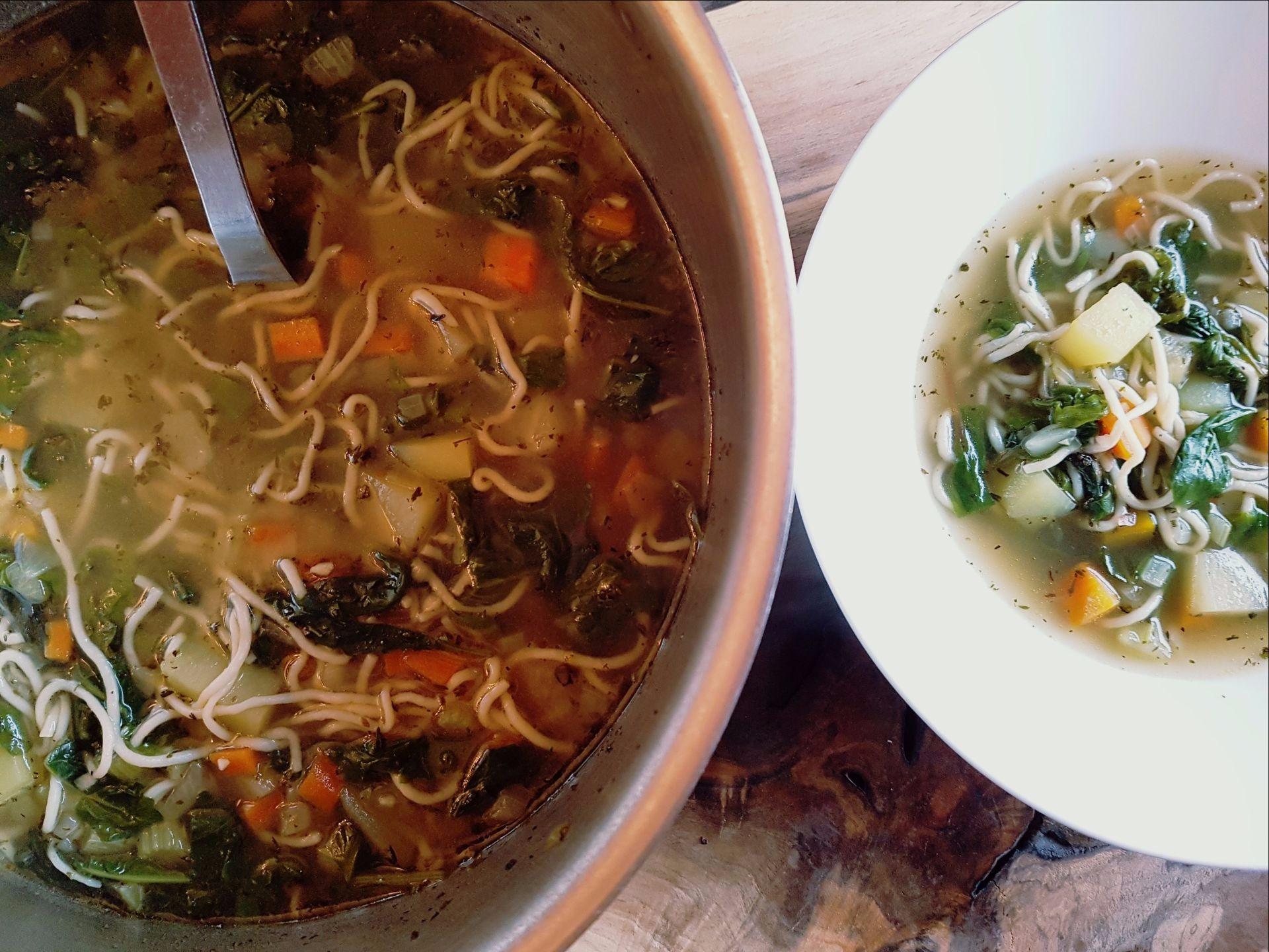 Bowl of Ramen noodles, broth, carrots, kale