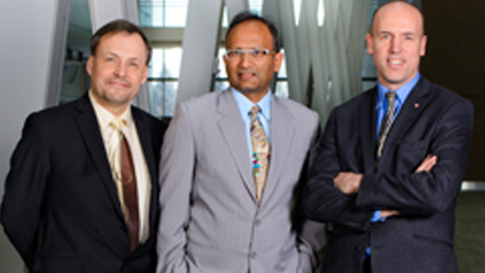 From left Dr Andrew Demchuk Dr Mayank Goyal and Dr Michael Hill