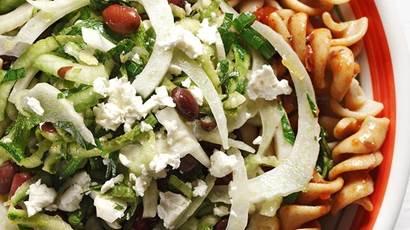 Fusilli pasta with shredded zucchini, fennel, feta and black beans
