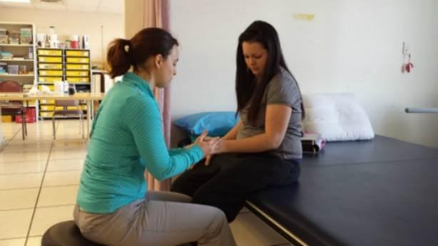 <p>Geneviève in rehabilitation three months after her stroke.</p><div><br></div>