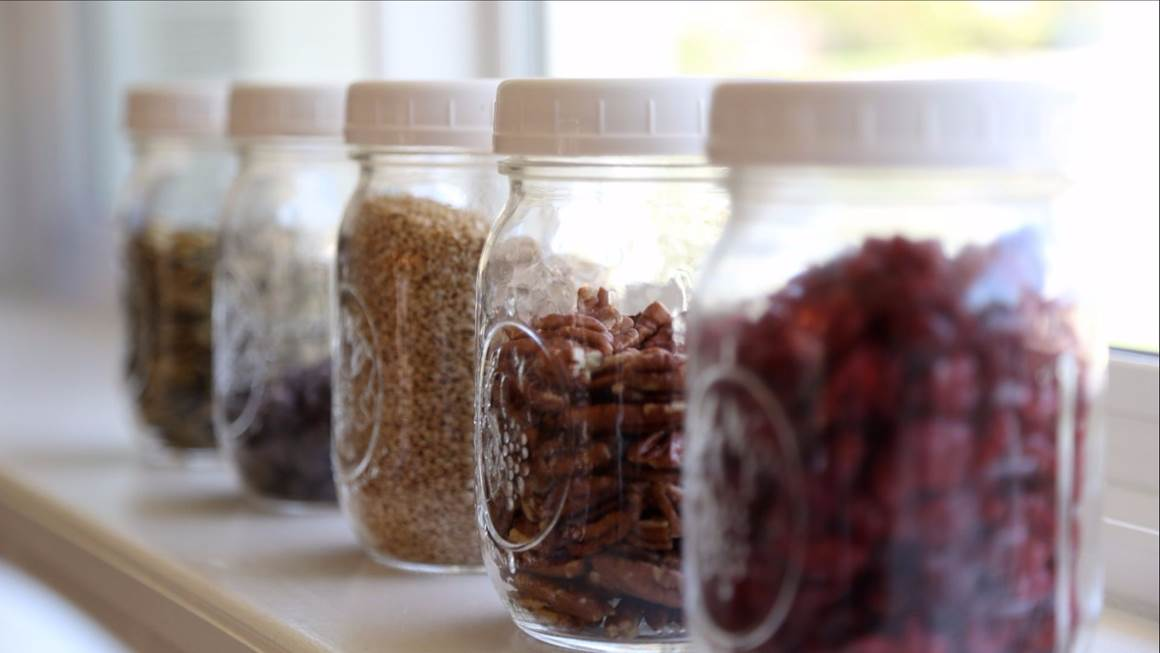 Pantry staples in glass mason jars