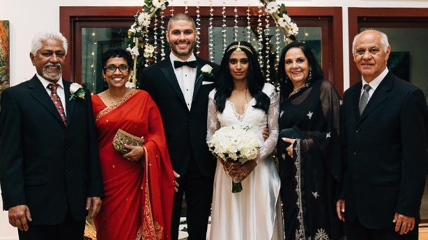 <p>A family united: Lakna's parents Nalaka and Kumari, Regis, Lakna, Regis's parents Edina and Pedro.&nbsp;</p>