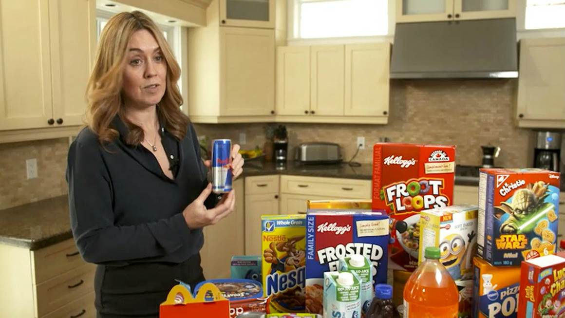 Researcher Maureen Potvin Kent displays some of the products advertised to children and teens online.