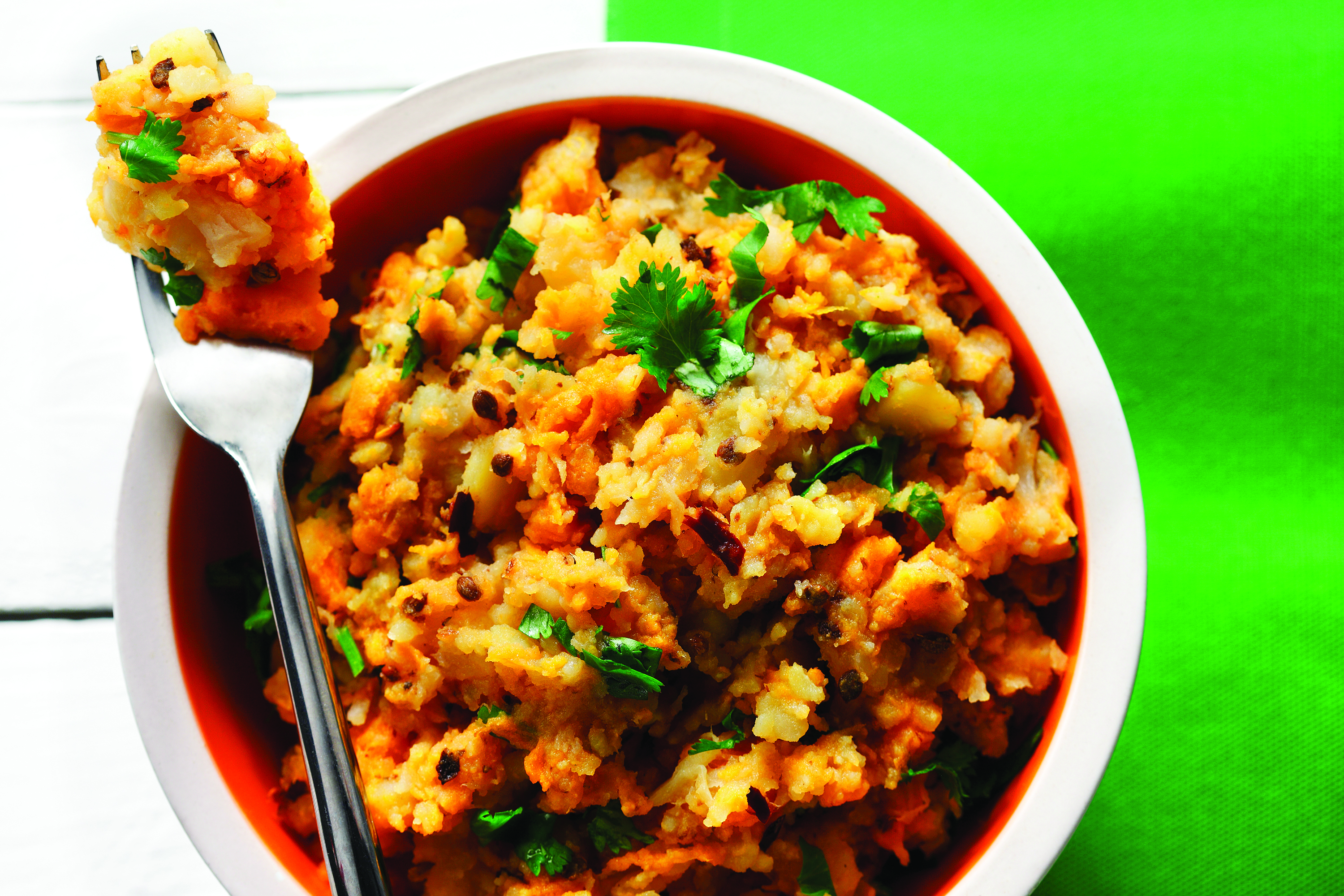 Mashed sweet potato, turnip, parsnip topped with coriander seeds and fresh cilantro