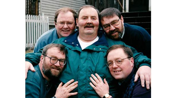 <p>The Westhaver brothers (from bottom left) Peter, Patrick, James, Stephen and Tim.</p> <p></p>