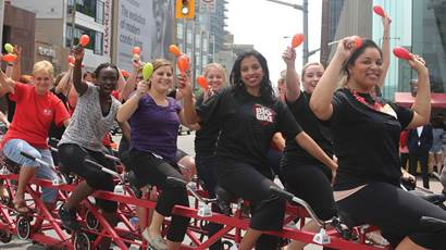 Group of people participating in Heart&Stroke Big Bike