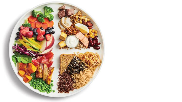 A plate with food separated into four quarters of nutrition