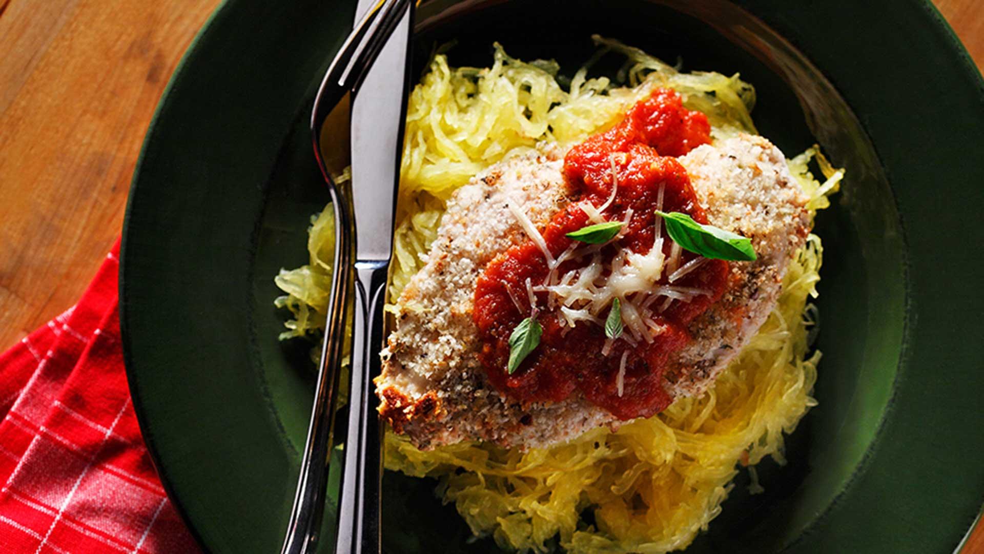 chicken parmigiana with spaghetti squash