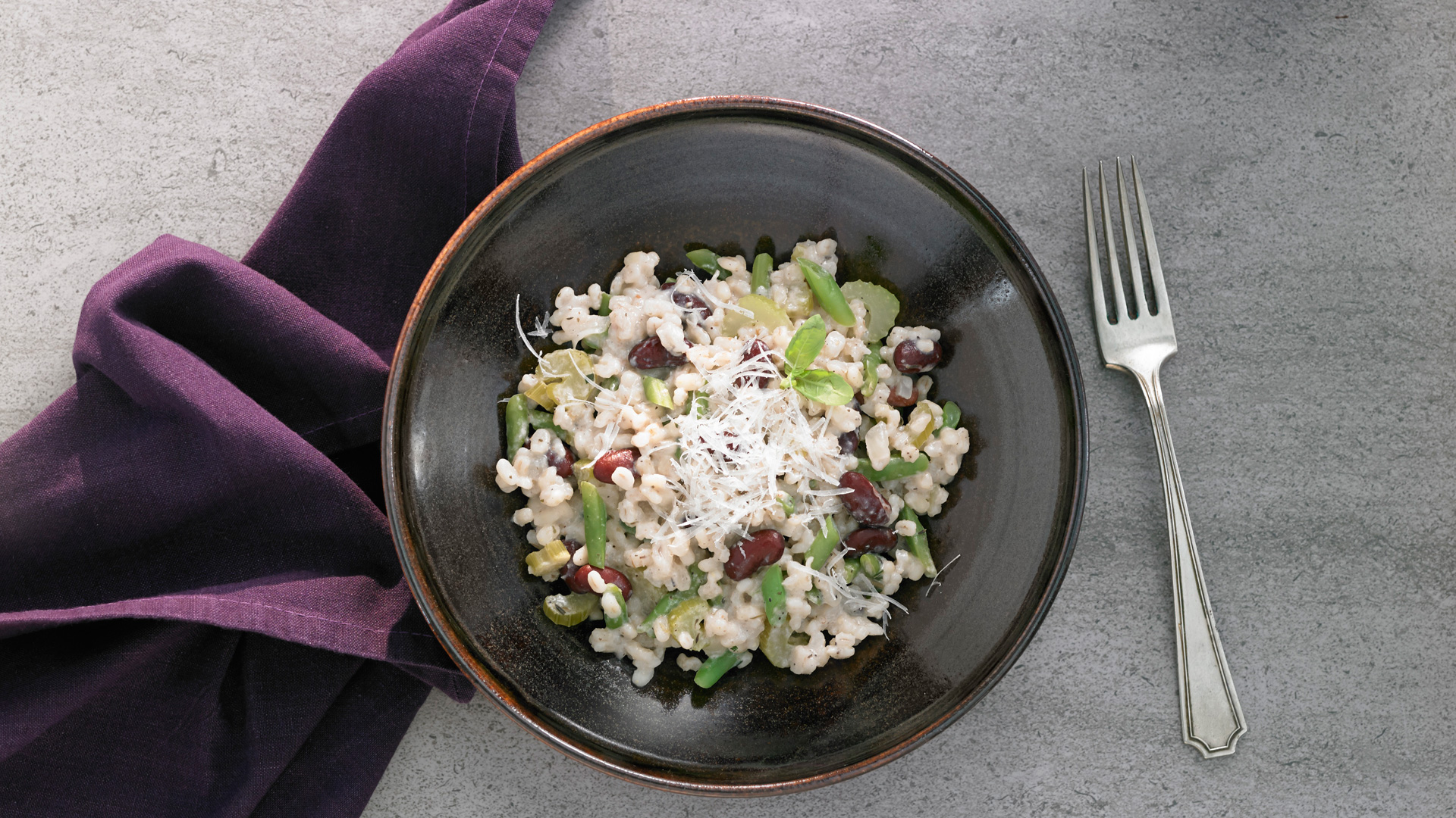 Herbed Barley Bean Risotto