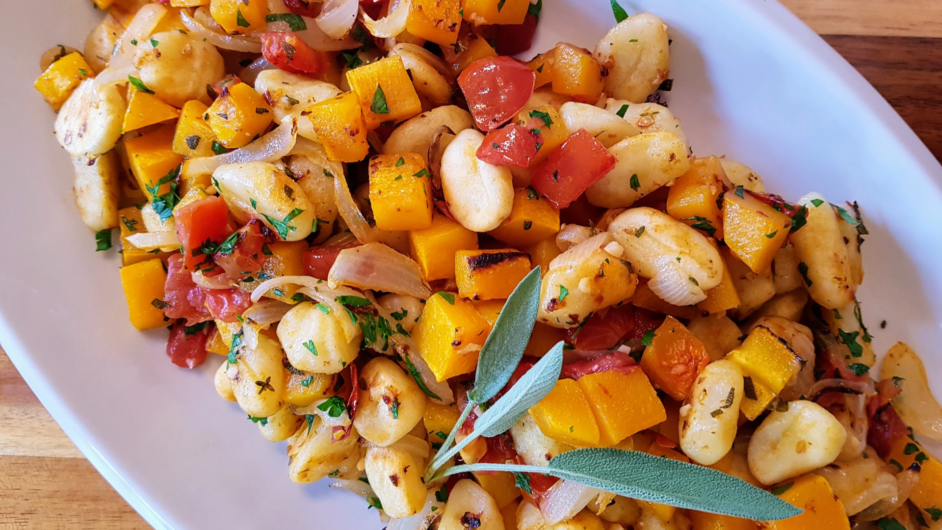 Roasted squash and gnocchi toss