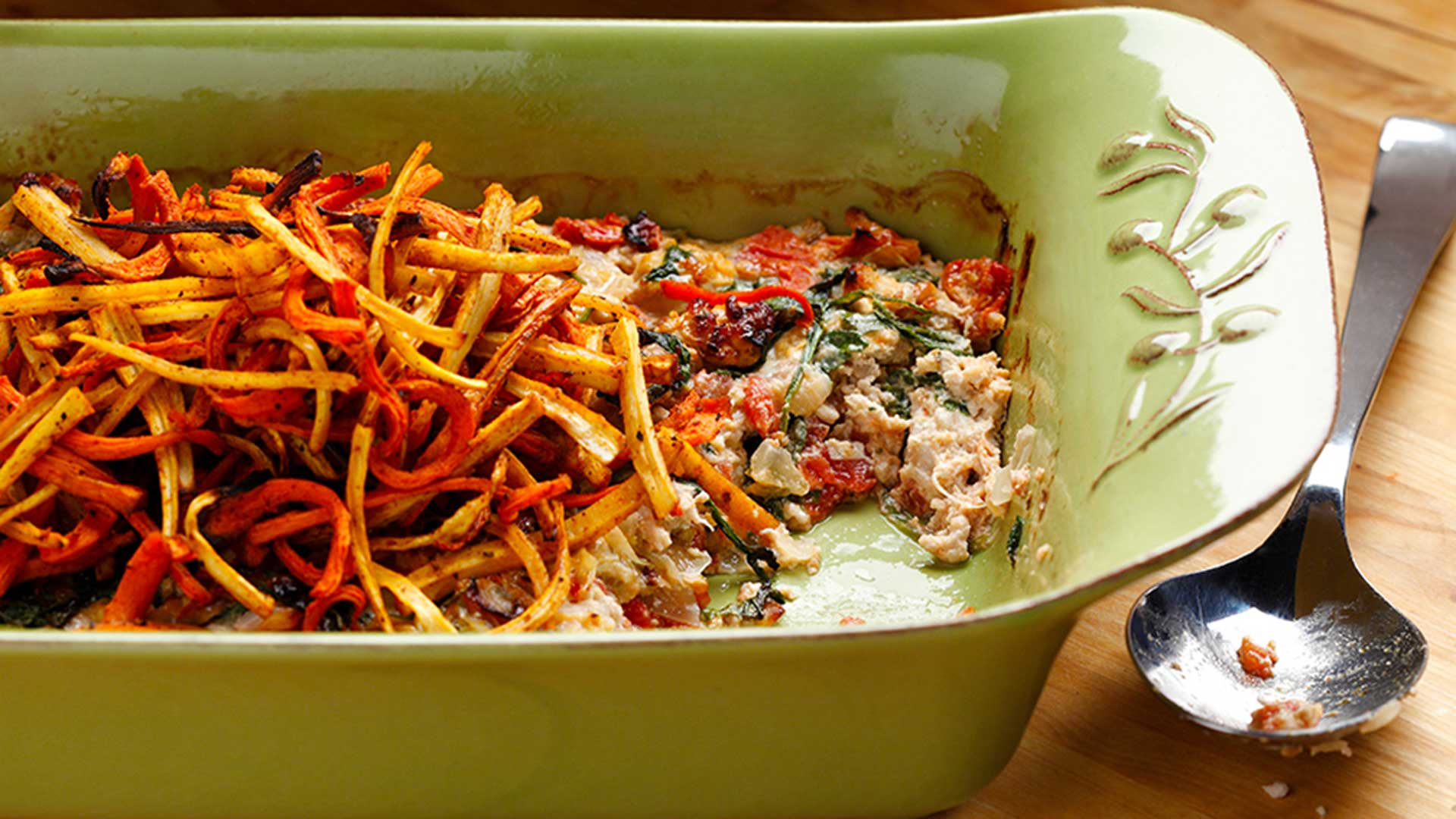 Turkey burger casserole with parsnip and carrot frites