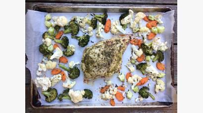 Turkey and veggie dinner on one baking sheet